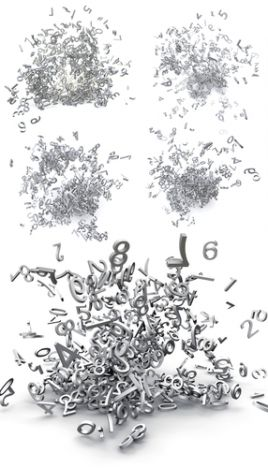 Set of exploded 3d numbers